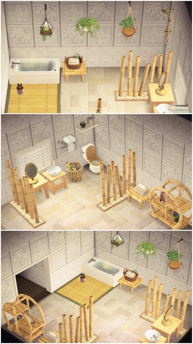 My Bamboo Bathroom The White Botanical Wallpaper Is My Absolute Favourite Wall In In 2020 Animal Crossing Wild World Animal Crossing 3ds Animal Crossing Characters