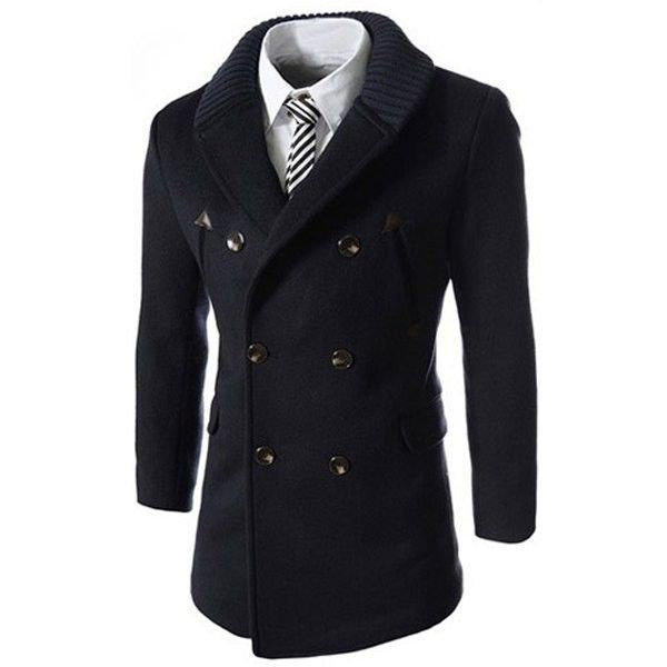 Knitted Lapel PU Leather Spliced Multi Button Slimming Long Sleeves... (88 BAM) ❤ liked on Polyvore featuring men's fashion, men's clothing, men's outerwear, men's coats, mens pea coat jacket, mens coats, mens slim fit wool coat and mens wool pea coat