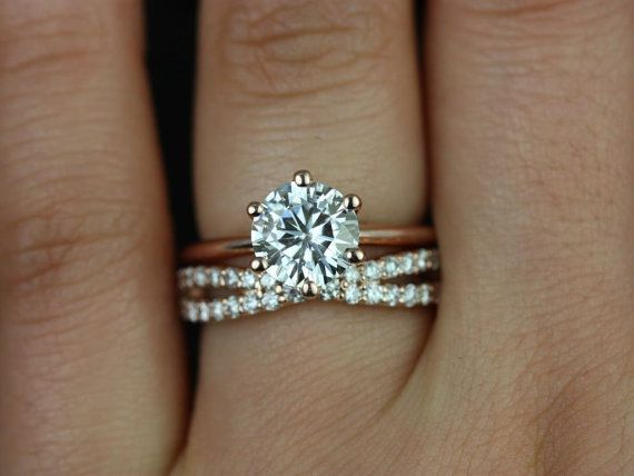 Skinny Webster 7.50mm & Lima 14kt Rose Gold FB Moissanite Six-Prong Webbed Wedding Set (Other metals and stone options available)