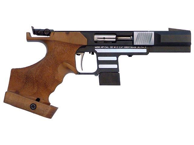 Pardini HP Olympic pistol. Semi-automatic and chambered in .22LR. A very expensive competition pistol made for Olympic shooters.