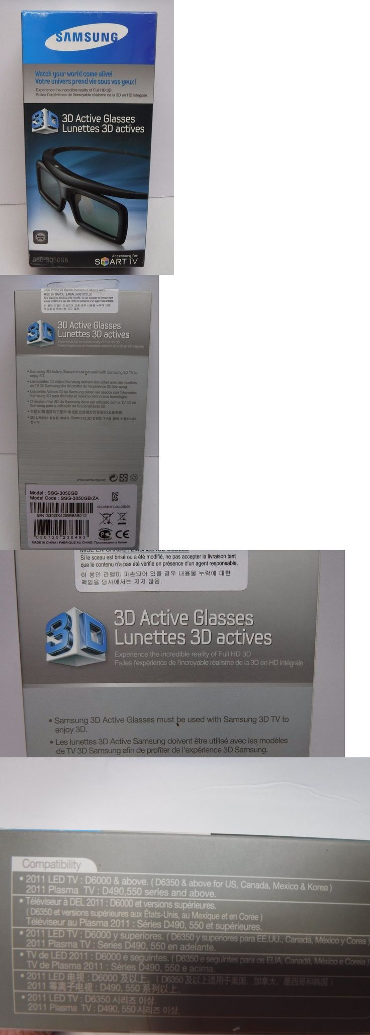 3D TV Glasses and Accessories: Samsung Ssg-3050Gb 3D Active Glasses Black New In Box -> BUY IT NOW ONLY: $44.5 on eBay!
