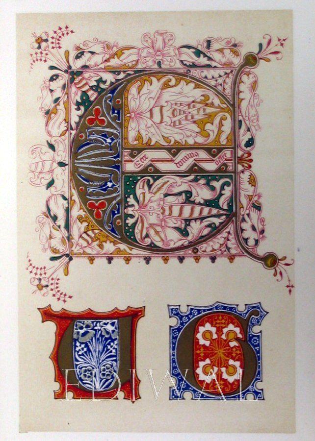 14th century european art | Antique Prints Ediwal3000-Illumination & Caligraphy/3