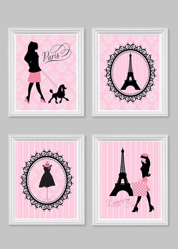 Paris Wall Decor, Parisian Art Prints, Eiffel Tower, Mannequin, French Poodle, Paris Baby Art, France, Pink and Grey, Travel Decor, Fashion
