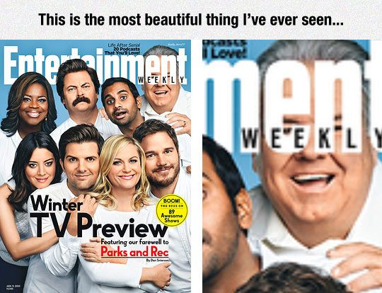 Parks And Rec In Entertainment Weekly Got this magazine and had a good laugh! So glad someone else noticed!!