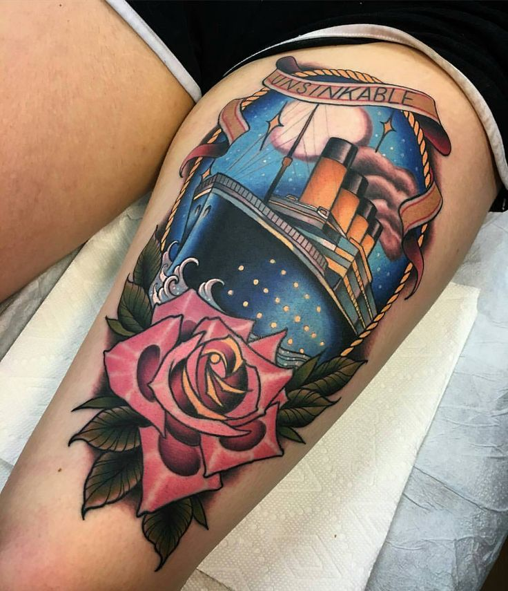 Titanic tattoo by @rb.tattoo at @bittersweettattoo in Manchester, NH.