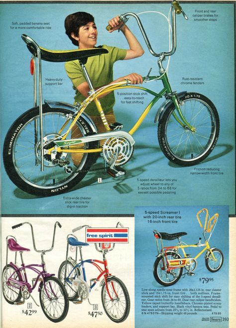 Five-speed with banana seat for sweet jumps. 1972, Sears Wish Book - wish I still had my turquoise one.