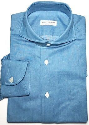 MONTESARO NAPOLI Blu 100% cotton Dress Shirt 15 1/2. 39 HandMade Luxury