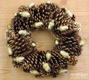 Gilded DIY Wreath   AllFreeHolidayCrafts.com