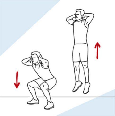SENTADILLA CON SALTO  Habituales en los Tábatas -entrenamientos interválicos de alta intensidad- nos ponen a 100 en un tiempo récord. Cuatro minutos son más que suficientes para elevar el ritmo cardíaco y tonificar el tren inferior. ¡Ojo con las rodillas!