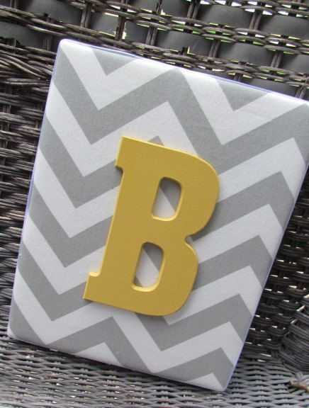 Gray Chevron Letters, 8x10  Gray Nursery Letters, Gray and Yellow Wall Letters, Framed Monogram, Painted Letters, Wood Letters, Personalized
