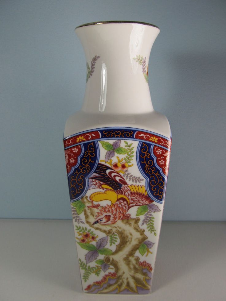 Vintage Japanese Vase With Floral And Birds Decor By Imari
