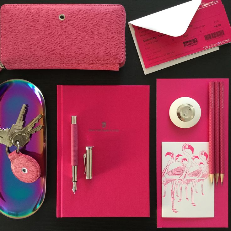 With #writing instruments and #accessories in Electric Pink we impart a true rush of #colour.  #gvfc #grafvonfabercastell #flamingo #flamingos #pink #electricpink #eraser #madeingermany #handmadeingermany #pencil #pencils #stationery #tray #keys #guilloche #wallet #notebook #nuremberg #ballet #moodboard
