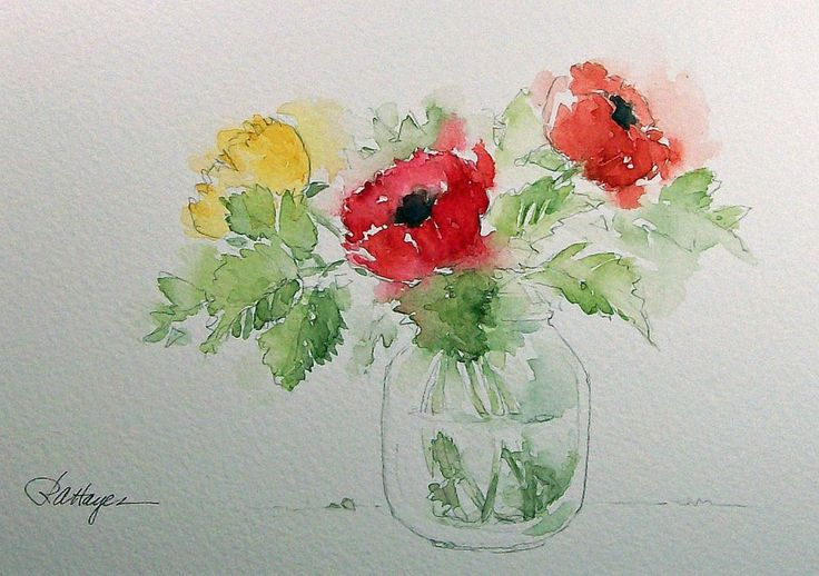 1000 ideas about easy watercolor paintings on pinterest for Simple flower paintings for beginners