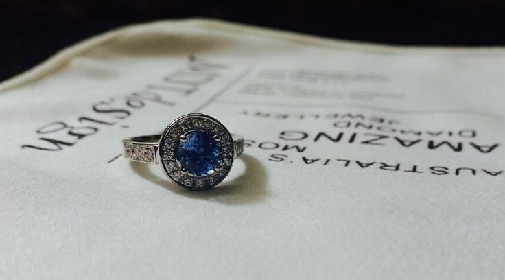 What are your thoughts on this grain set halo featuring a round blue Ceylon sapphire?
