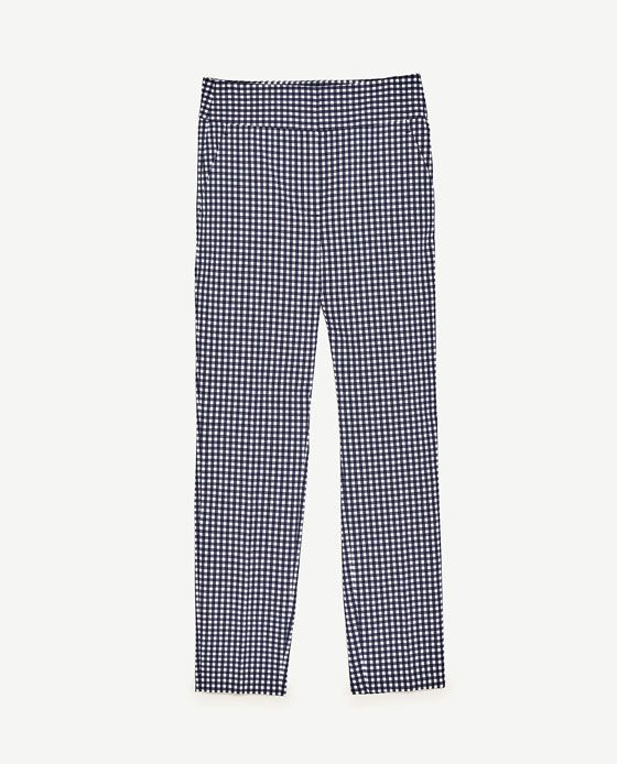 Image 8 of HIGH WAIST CHECKED TROUSERS from Zara