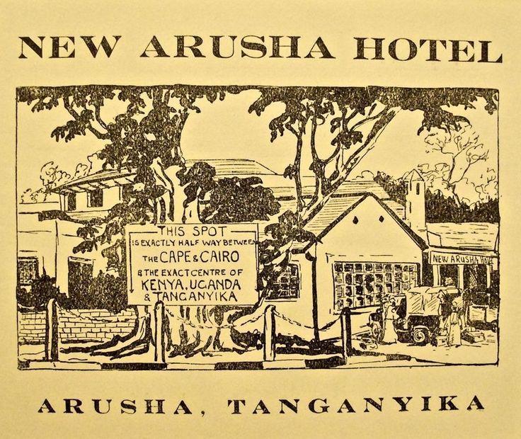 New Arusha Hotel Tanganyika Luggage Label