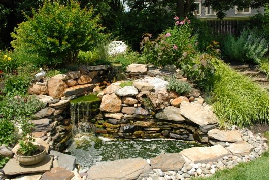 Rustic pond home and garden design idea 39 s outdoor for Home and garden design