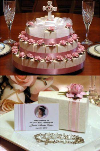 First Communion Favors Floral Centerpiece Favor Cake cakepins.com