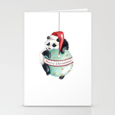 """Christmas Panda"" Stationery Cards by Arianna Usai - $12.00"