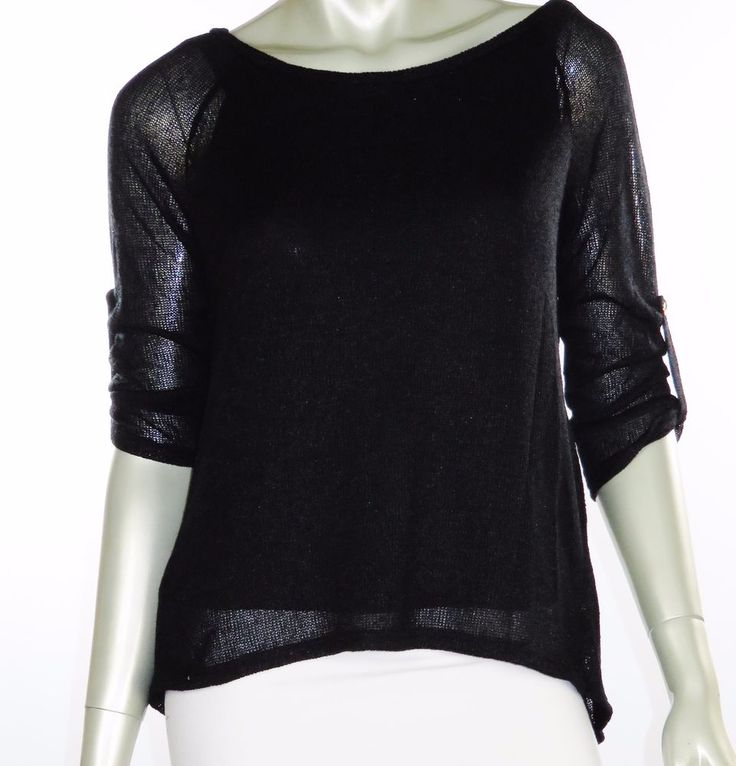 WOMENS WORK RESORT CASUAL SCOOP NECK 3/4 SLEEVE SUMMER SWEATER BLACK S M L  #B_ENVIED #SML