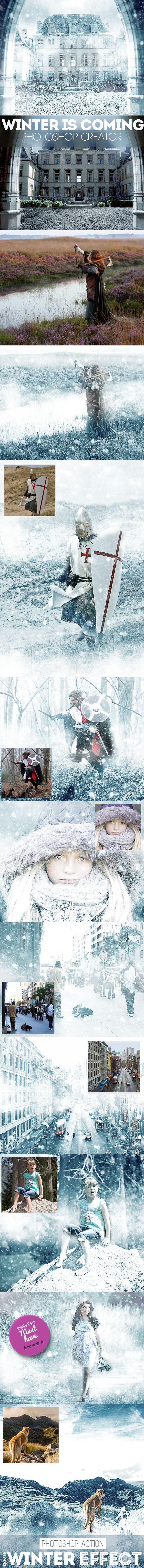 Winter is Coming Photoshop Snowing Effect Action - Photo Effects Actions