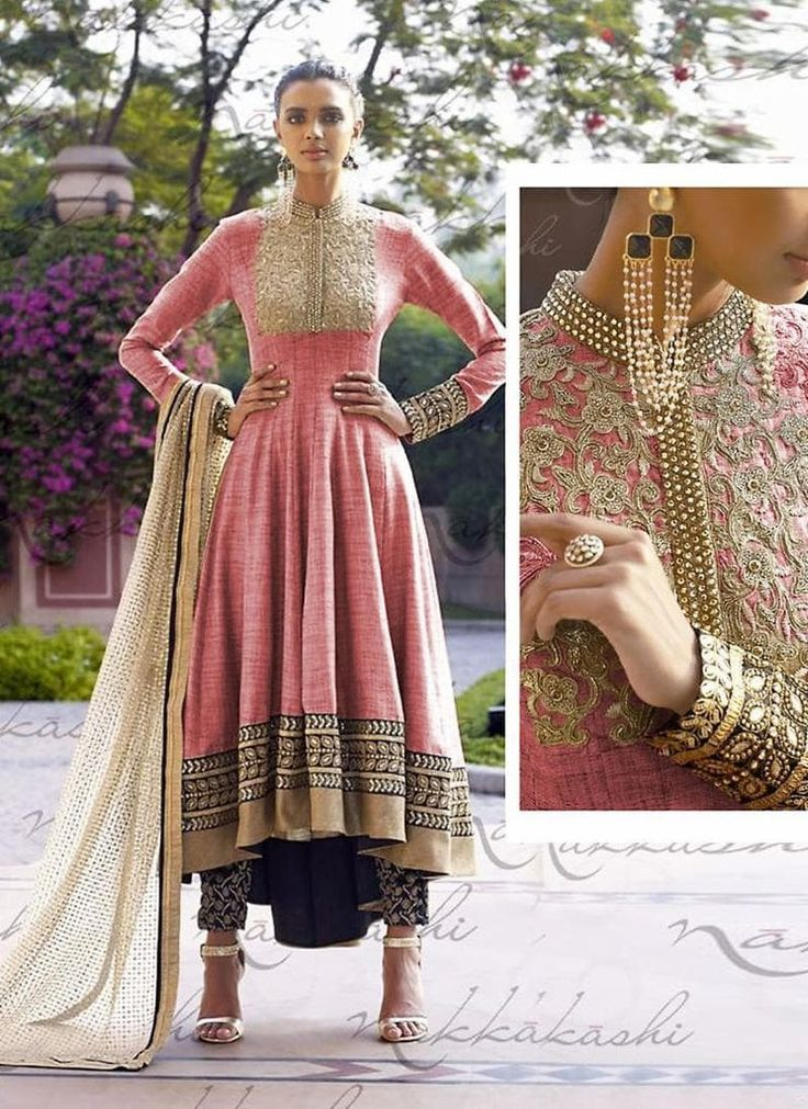 Salmon Pink Anarkali Style Party Wear Indian Salwar Kameez #indianweddingdresses