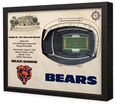 $199.99 - NFL Chicago Bears Stadium Views Wall Art - Complement your sports room, man cave, or office with the officially licensed NFL Stadium Views Wall Art. Ideal for any alumnus, this wall art features a flawless, laser-cut, 3D wooden reconstruction of the Soldier Field.