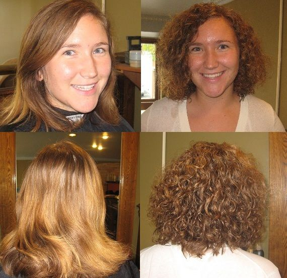 straight hair to medium curl -- perm before and after