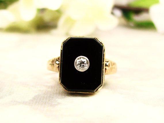 Art Deco Diamond & Onyx Ring Antique Art by LadyRoseVintageJewel