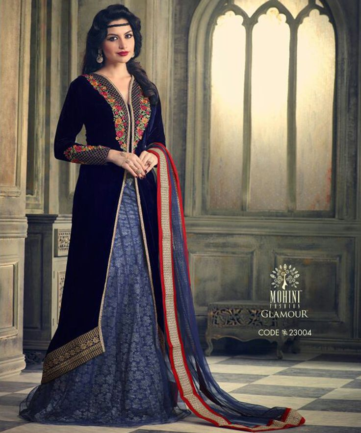 #OnlineShoppingIndia Store sell #Designer Heavy #Embroidered on Velvet With Royal blue Color top And Satin Bottom With Chiffon Dupatta #semi-stitched #salwar-suit #dress materials.