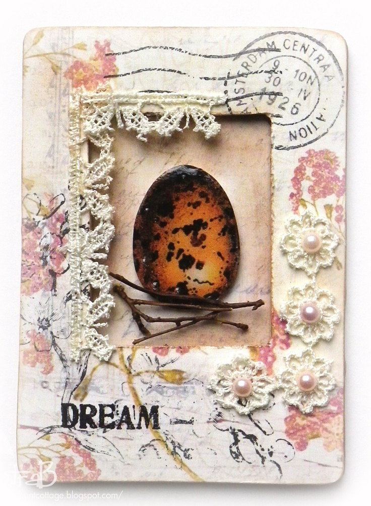 ATC Frame. stamps: Marianne Design - paper: PrimaMarketing - image: Graphics Fairy