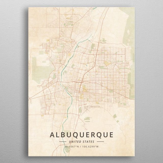 Albuquerque United States by DesignerMap Art | metal posters ...
