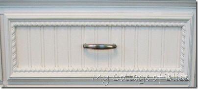 Add beadboard wallpaper to furniture