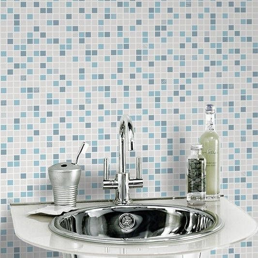 Graham & Brown Checker Aqua Wallpaper, Blue