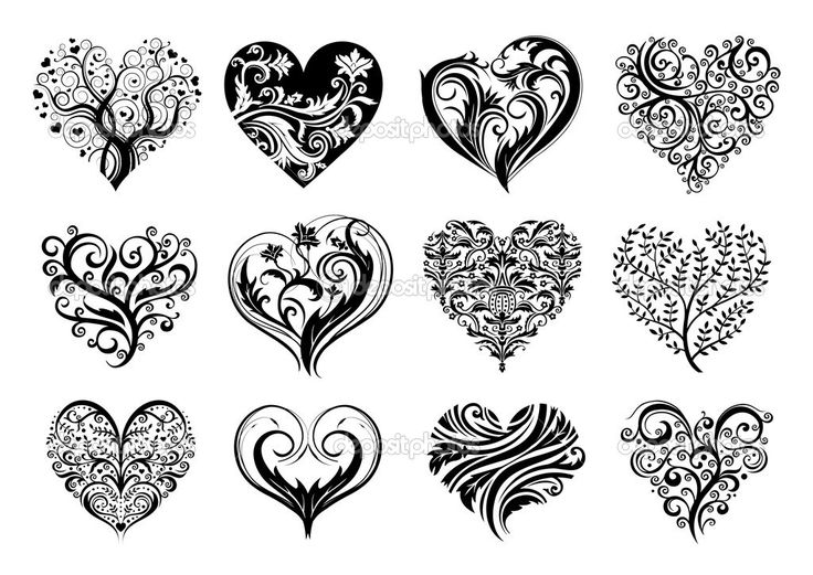 Downloaden - Set van 12 tatoeage harten, vector image — Stockillustratie #2257956