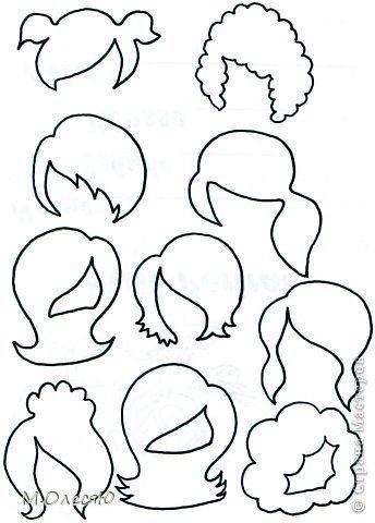 Modelos de cortes de cabelo para feltro www.verefazer.org  moldes e apostilas grátis de feltro