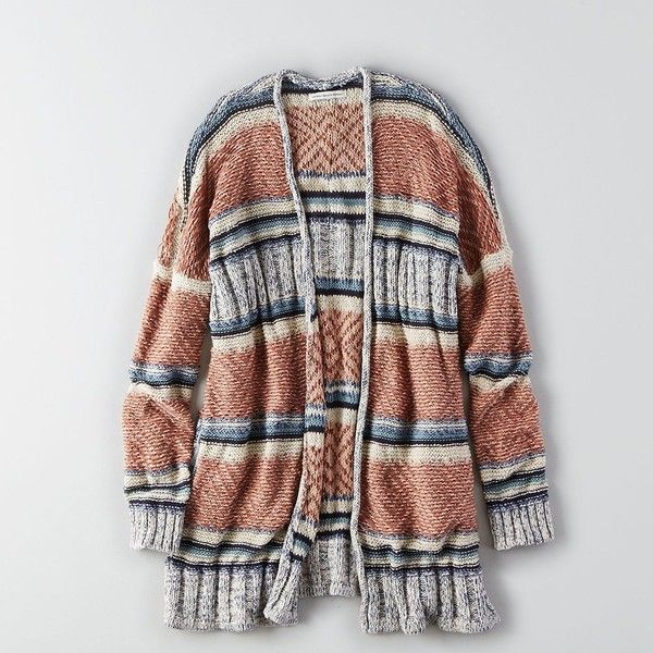 AEO Textured Kimono Cardigan ($55) ❤ liked on Polyvore featuring tops, cardigans, multicolored, oversized tops, striped top, open front cardigan, striped open front cardigan and brown tops