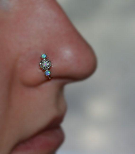 2mm opale bleu fleur anneau de nez / / nez argent créoles 20g