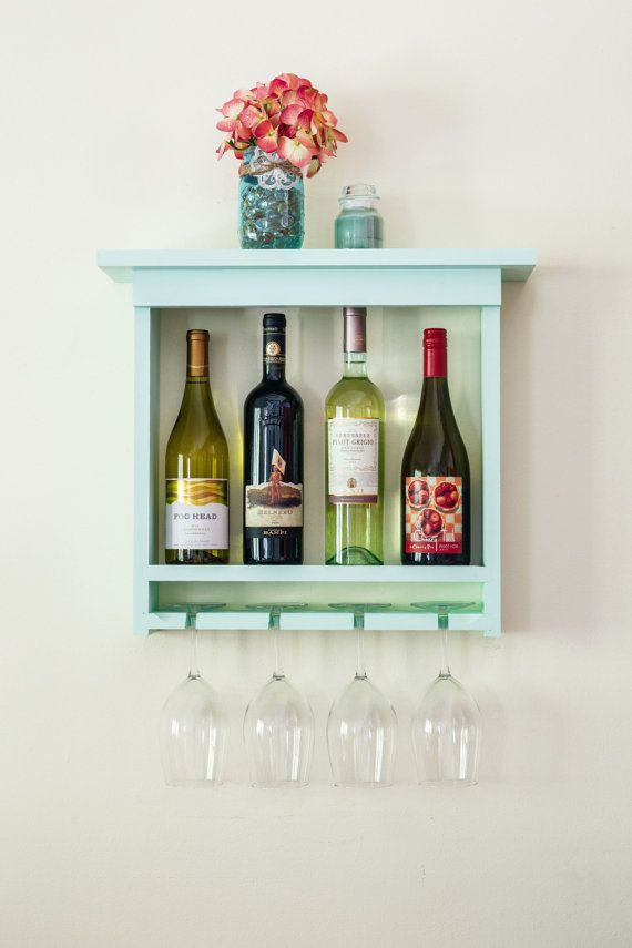SALE Mint Green Wall Mounted Wine Rack with Wine Glass by WoodChops