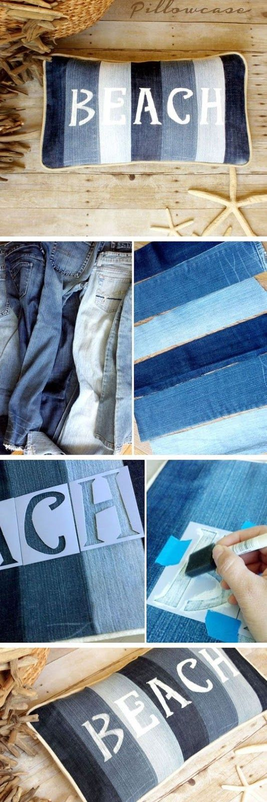 Beach pillow out of old jeans - denim crafts - DIY pillow - stencil decor