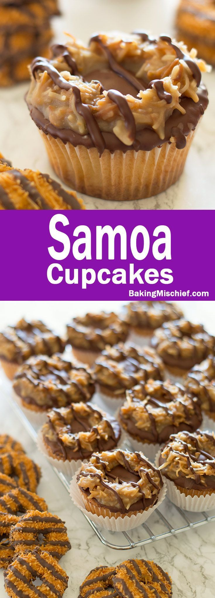 Samoa Cupcakes - Toasted coconut, quick homemade caramel, and chocolate coating over a pound cake cupcake is sure to please lovers of the Girl Scout's most divisive cookie. Recipe includes nutritional information and small-batch instructions. From http://