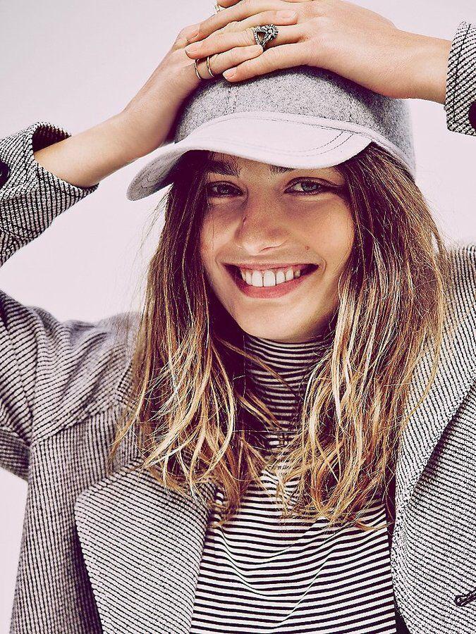 plain cap, stripped shirt