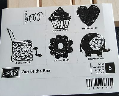 Stampin-039-Up-Out-of-the-Box-6pc-Mounted-Rubber-Stamp-Set-Retired-EUC