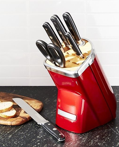 Bringing the same eye toward quality, attention to detail and timeless design that distinguishes its iconic stand mixers, KitchenAid introduces this set of professional-quality knives. Made of forged German high-carbon stainless steel, the knives in the KitchenAid Professional Series 7-Piece Candy Apple Red Knife Block Set hold a serious edge with ergonomically designed handles for an efficient and comfortable grip.
