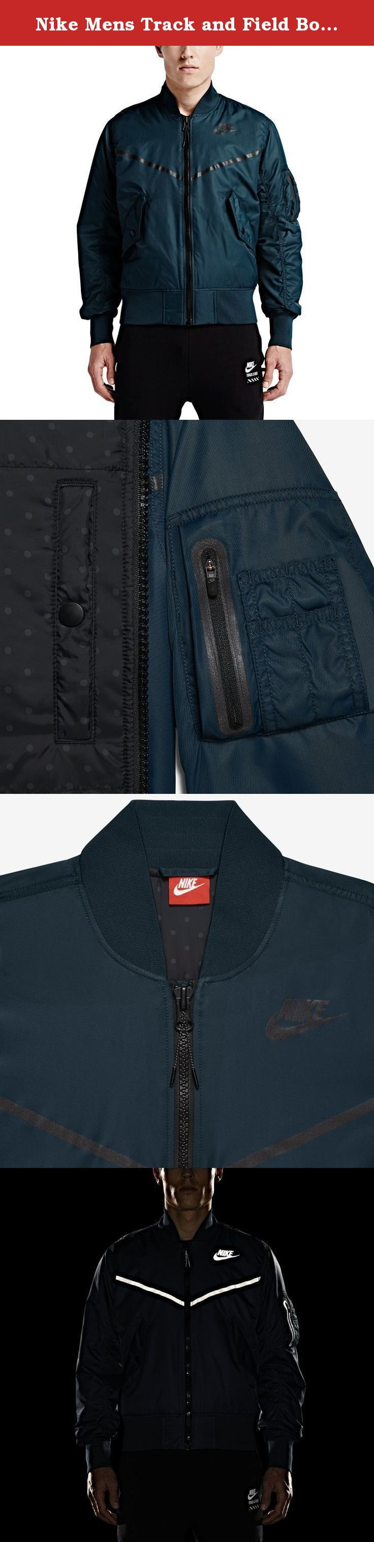 Nike Mens Track and Field Bomber Jacket (Medium, Midnight Teal). You'll be geared up for takeoff in the Men's Nike Track and Field Bomber Jacket. Track goes airborne with a military-inspired look that features iconic Nike Windrunner details, like a reflective chevron on the chest and the Nike corporate logo. This jacket's body fabric has a soft feel and a durable build that will keep you comfortable everywhere you go. The satin-sateen nylon fabric is long-lasting and offers a soft, smooth...