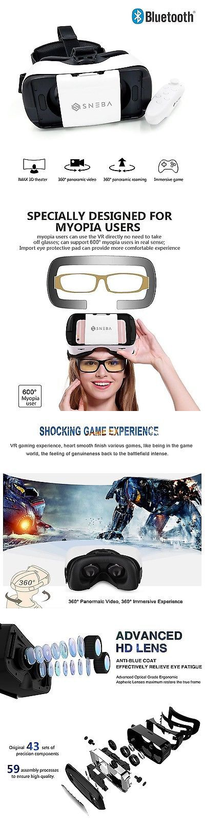 3D TV Glasses and Accessories: Sneba 3D Vr Glasses- Premium Virtual Reality Headset Volume And Control Dial Ad... BUY IT NOW ONLY: $56.24