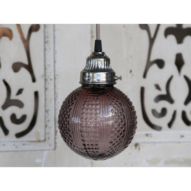 szklana lampa wisząca w starym stylu Kula fioletowa 21 cm #lamp #glass #old #style #vintage #ball #violet #purple