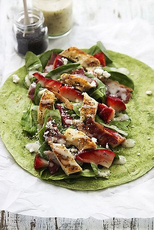 Spinach, Strawberry, Chicken, and Bacon Wrap   17 Spinach Recipes That Are Actually Delicious