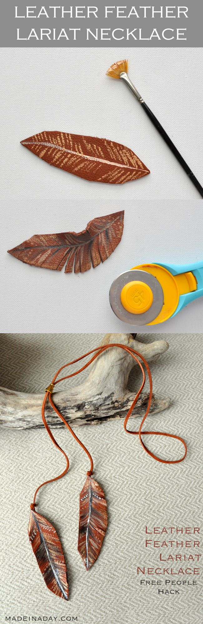 DIY Leather Feather Lariat Necklace + Free Printable Guide