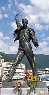Statue of Freddie Mercury overlooking Lake Geneva in Montreux, Switzerland